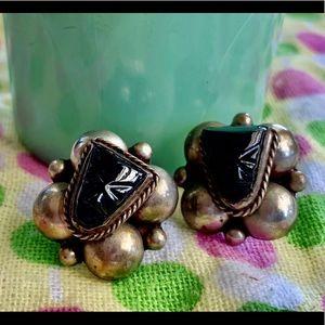 Vintage onyx Aztec mask earrings
